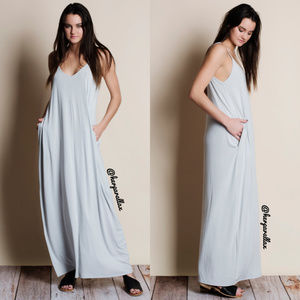 Light Grey Pocketed Maxi Dress